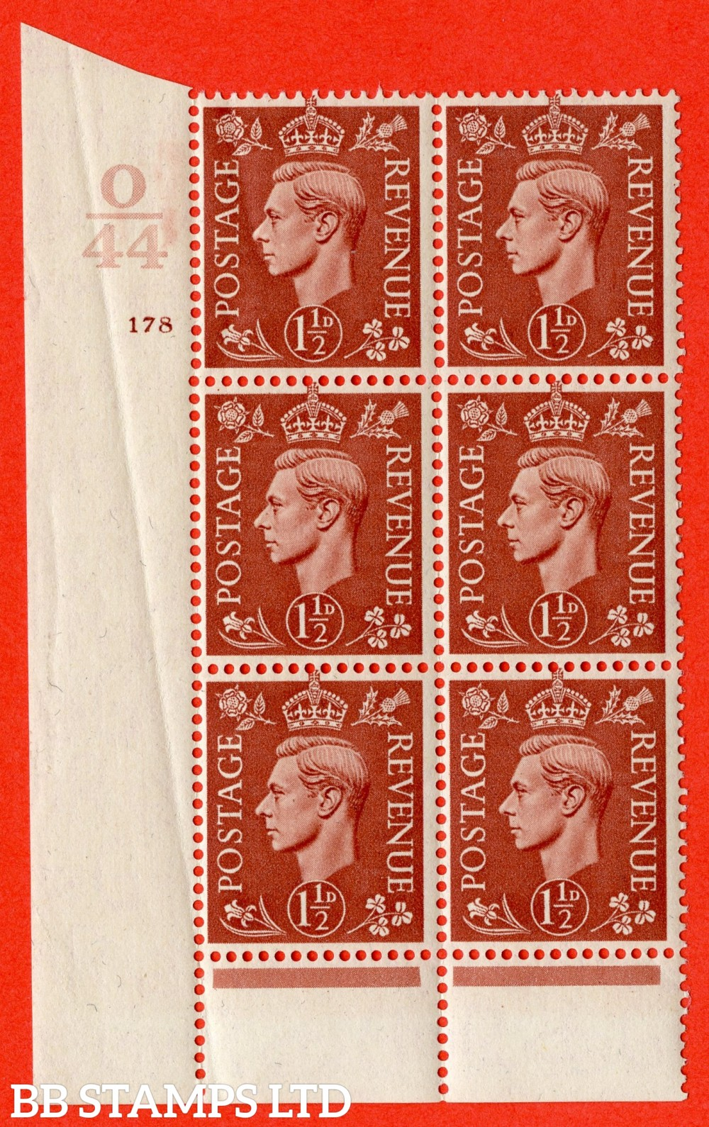"SG. 487. Q8. 1½d Pale Red-Brown. A superb UNMOUNTED MINT "" Control O44 cylinder 178 dot "" control block of 6 with perf type 6 I/P. Crease in margin."