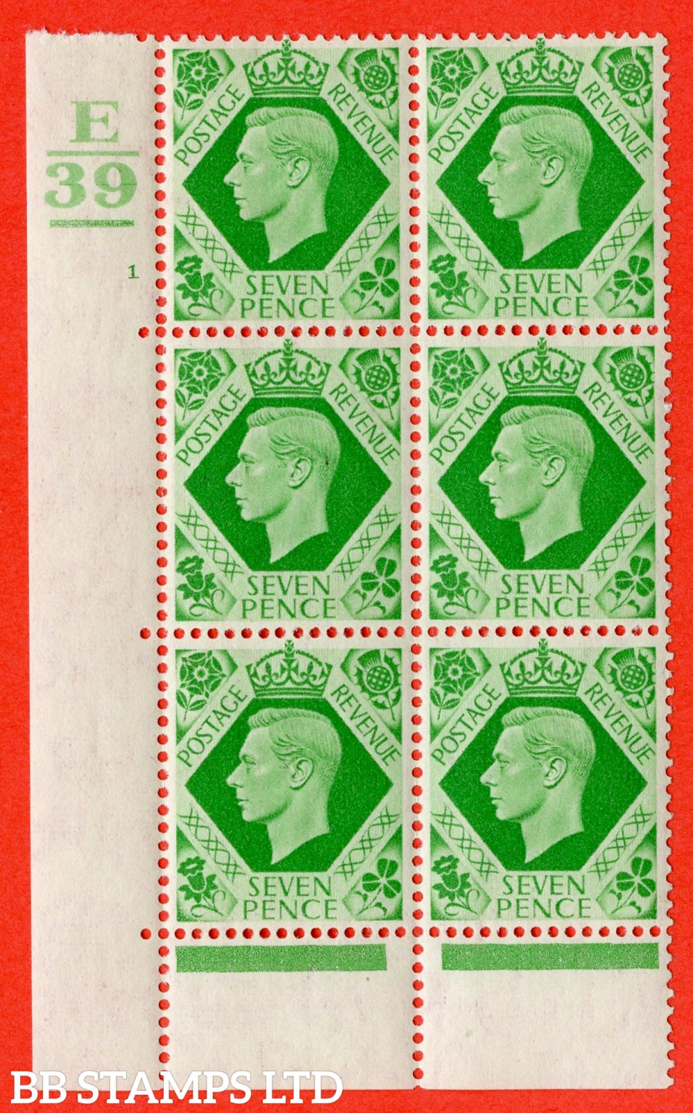 """SG. 471. Q23. 7d Emerald-Green. A fine lightly mounted mint """" Control E39. 1 Bar. Cylinder 1 no dot """" control block of 6 with perf type 6B E/P."""