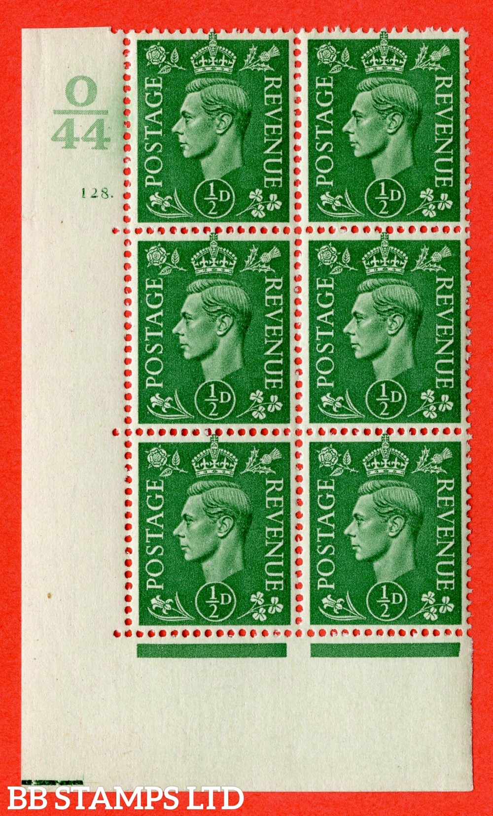 "SG. 485. Q2. ½d Pale Green. A very fine lightly mounted mint "" Control O44 cylinder 128 dot "" block of 6 with perf type 5 E/I with marginal rule."