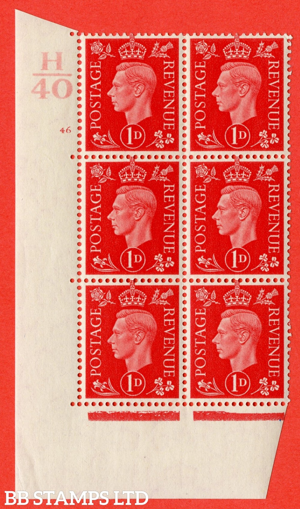 "SG. 463. Q4. 1d Scarlet. A superb UNMOUNTED MINT "" Control H40 cylinder 46 no dot "" block of 6 with perf type 5 E/I with marginal rule."