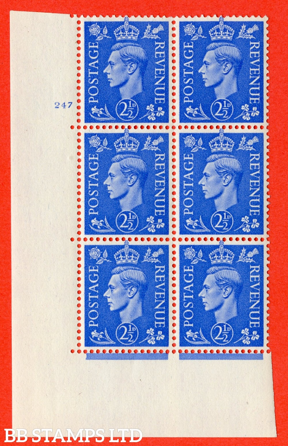 "SG. 489. Q14. 2½d Light ultramarine. A superb UNMOUNTED MINT "" No Control cylinder 247 no dot "" control block of 6 with perf type 5 E/I"