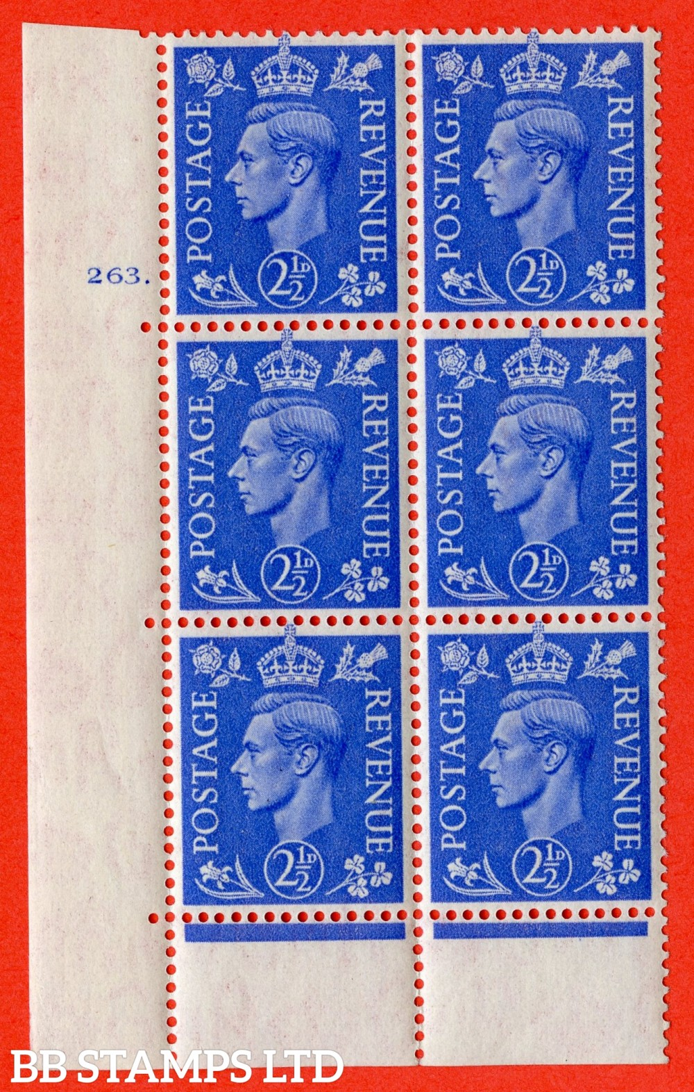 "SG. 489. Q14. 2½d Light ultramarine. A superb UNMOUNTED MINT "" No Control cylinder 263 dot "" control block of 6 with perf type 6B E/P"