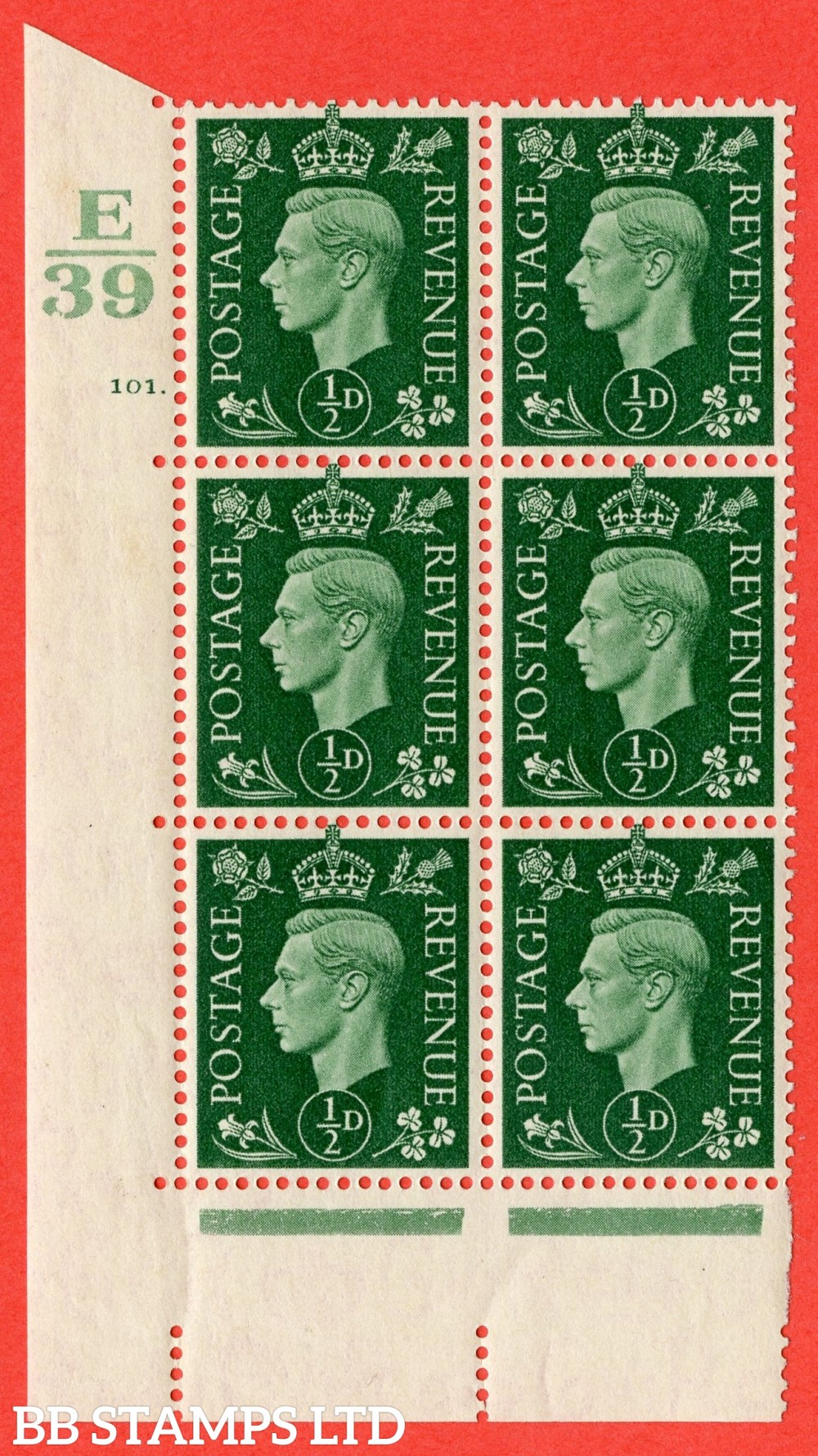 "SG. 462. Q1. ½d Green. A superb UNMOUNTED MINT "" Control E39 cylinder 101 dot "" block of 6 with perf type 5 E/I with marginal rule."