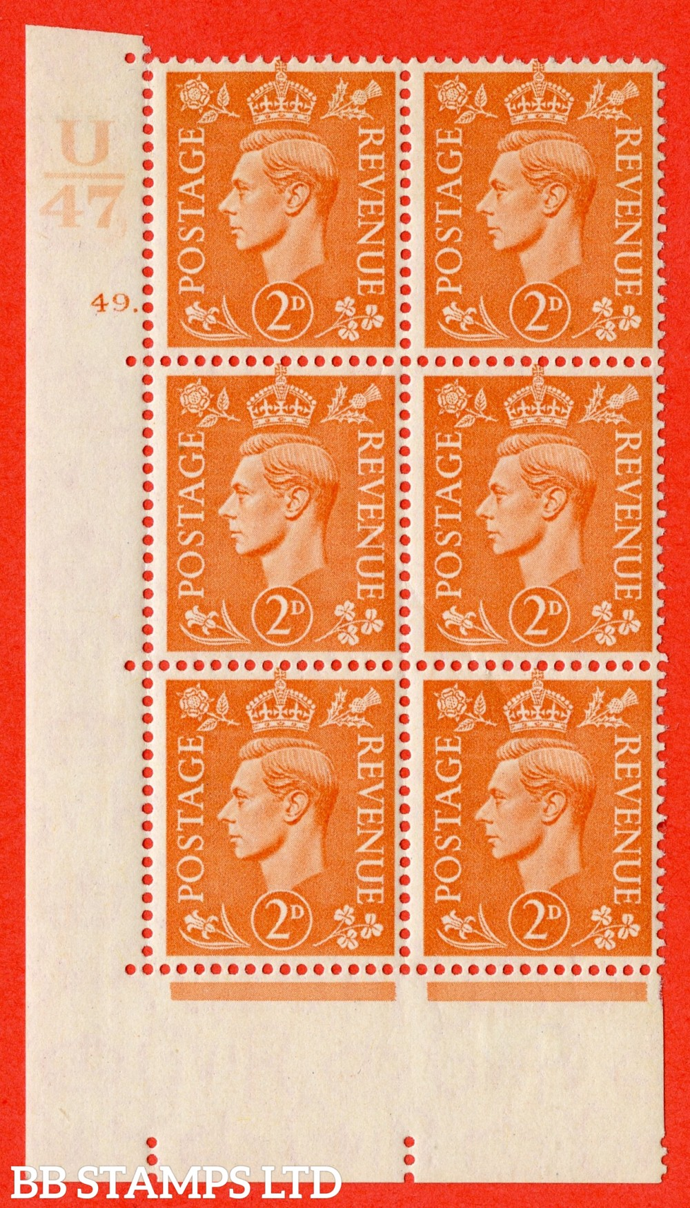 "SG. 488. Q11. 2d Pale Orange. A fine lightly mounted mint "" Control U47 cylinder 49 dot "" control block of 6 with perf type 5 E/I."