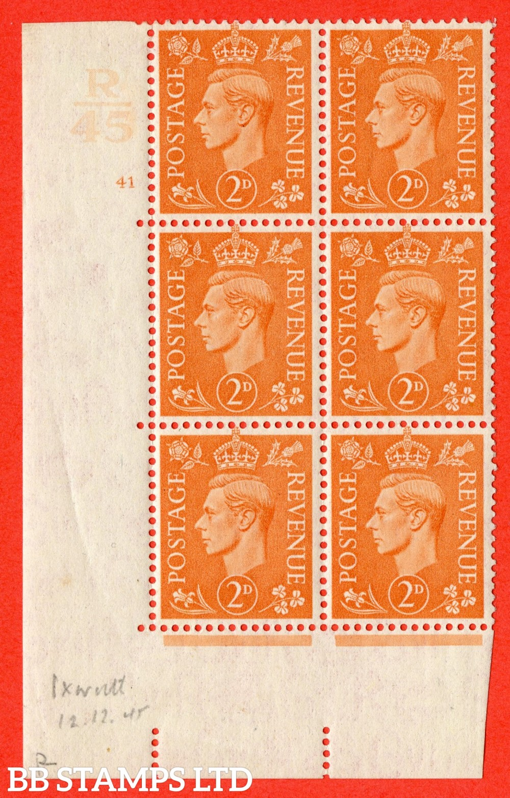 "SG. 488. Q11. 2d Pale Orange. A fine lightly mounted mint "" Control R45 cylinder 41 no dot "" control block of 6 with perf type 5 E/I."