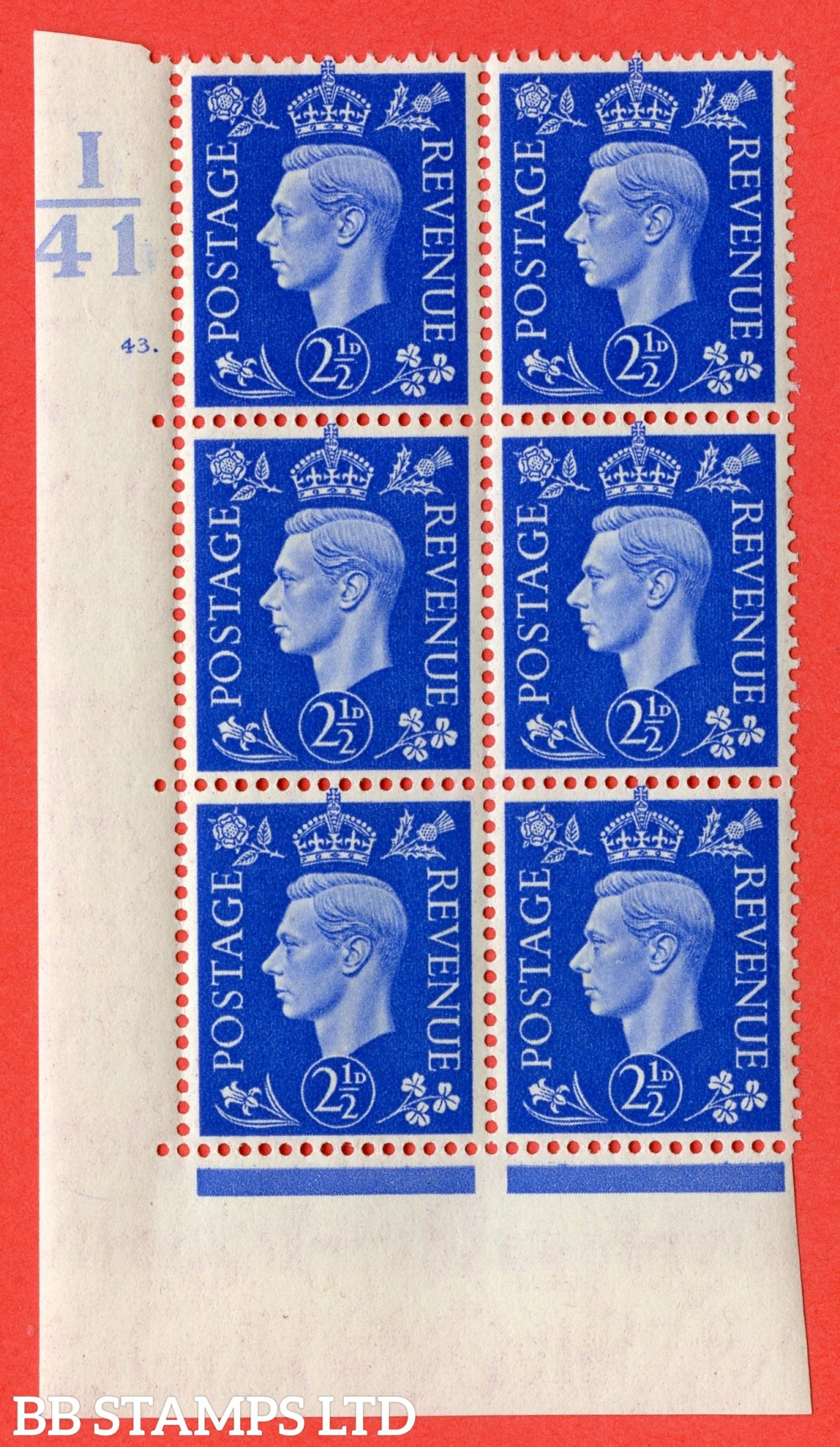 """SG. 466. d. Q13. 2½d Ultramarine.  A superb UNMOUNTED MINT """" Control I41 cylinder 43 dot """" control block of 6 with perf type 5 E/I."""