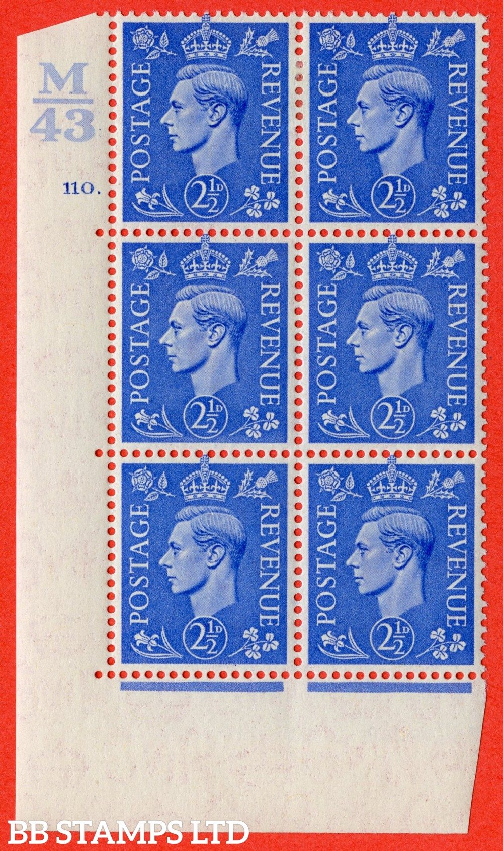 "SG. 489. Q14. 2½d Light ultramarine. A fine lightly mounted mint "" Control M43 cylinder 110 no dot "" control block of 6 with perf type 5 E/I."