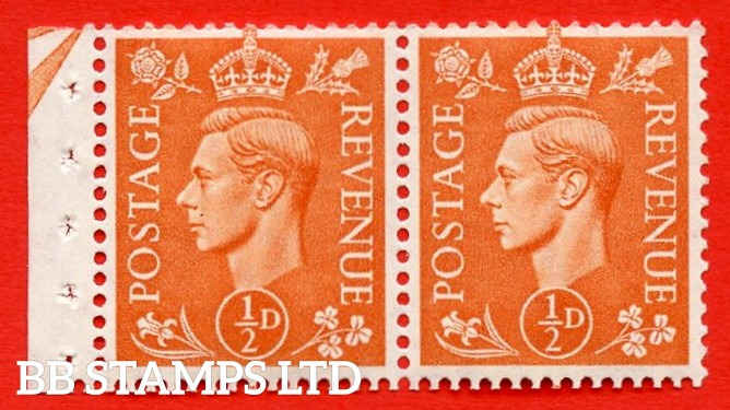 """SG. 503. QB9. ½d orange. A fine UNMOUNTED MINT complete booklet pane of 2. Perf type """" E (½V) """". Arrow at the top. Good Perfs."""