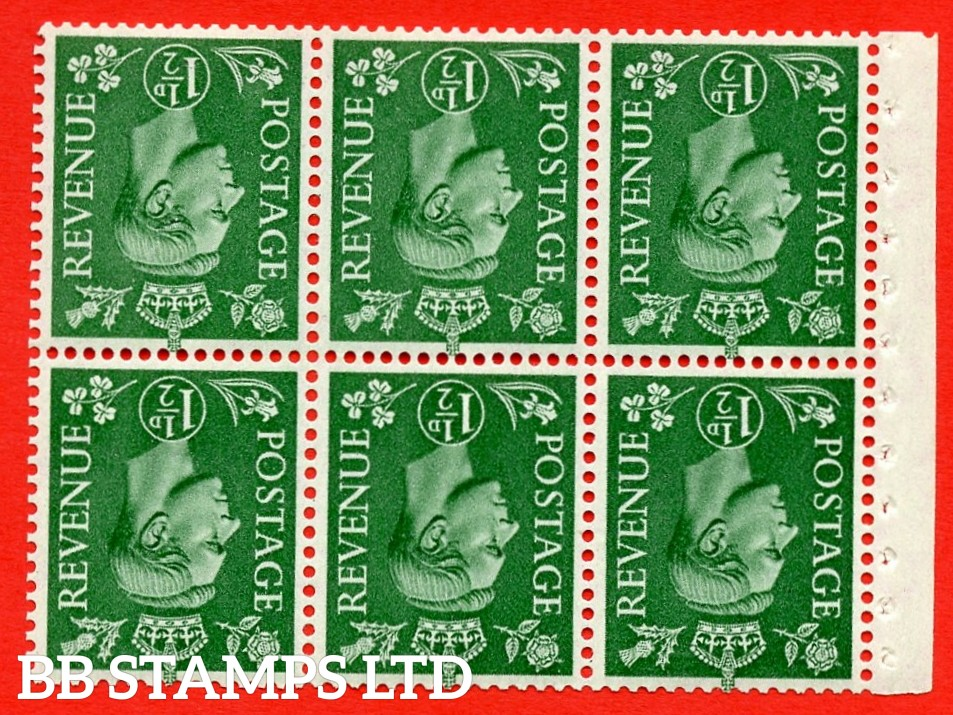 """SG. 505bw. QB26a. 1½d pale green. A superb UNMOUNTED MINT complete booklet pane. Perf type """" Ieb """". Good Perfs"""