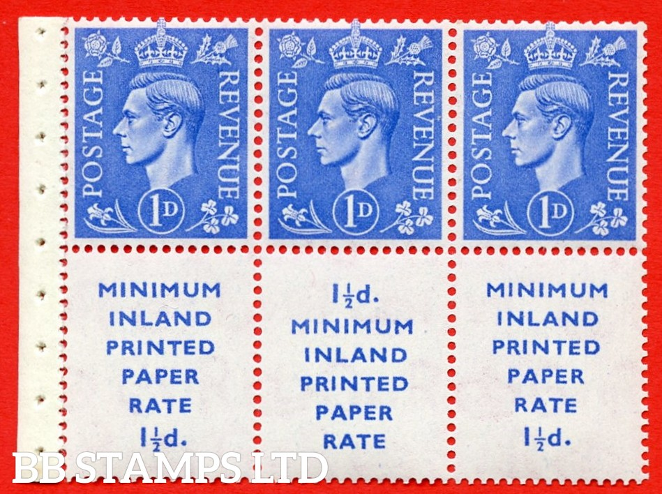 """SG. 504d. QB18. 1d ultramarine. A fine UNMOUNTED MINT example with """" MINIMUM INLAND PRINTED PAPER RATE """" 17 mm high. Perf type """" I """". Good Perf."""