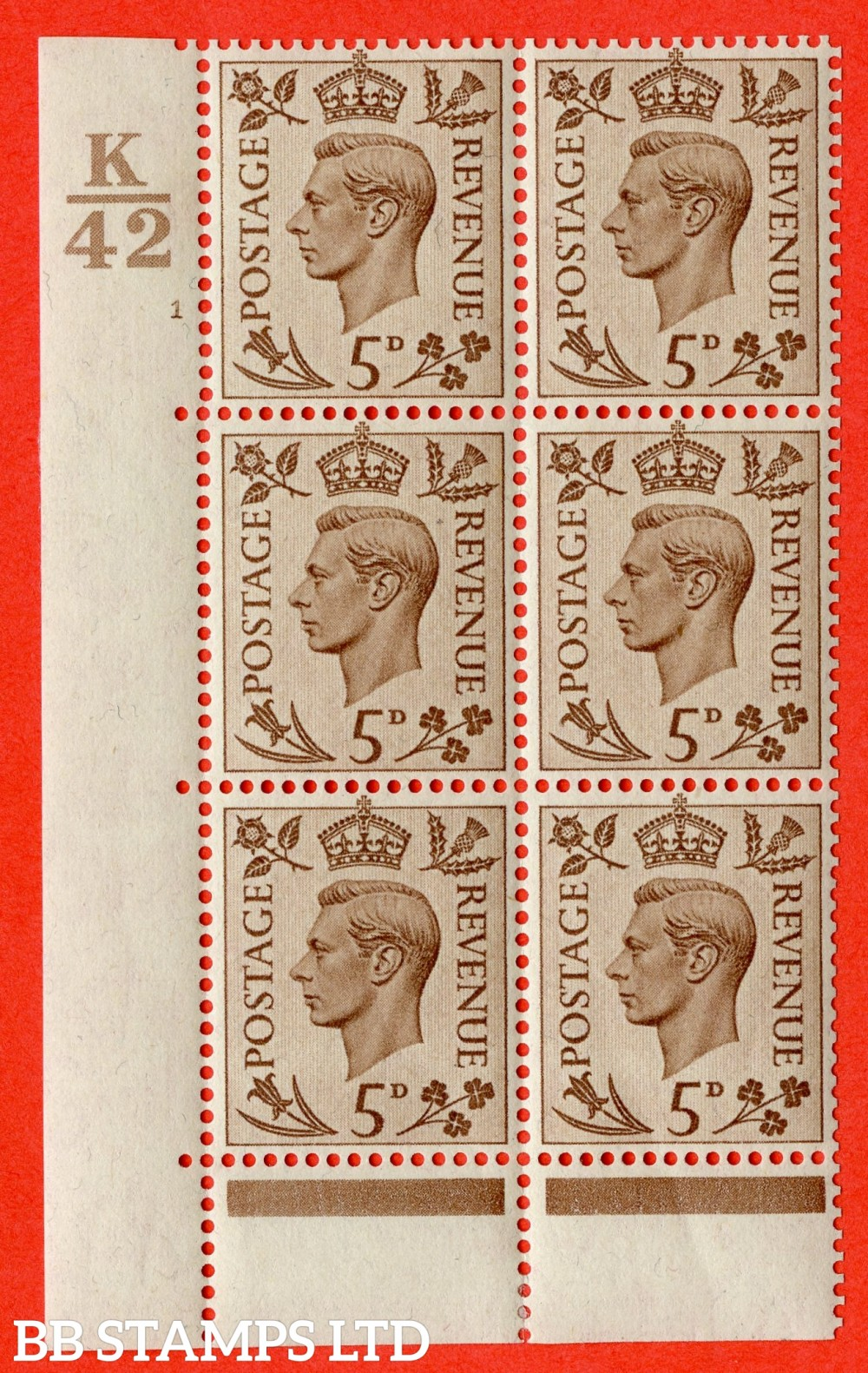 """SG. 469. Q21. 5d Brown. A fine lightly mounted mint.  """" Control K42. Cylinder 1 no dot """" control block of 6 with perf type 6B E/P."""