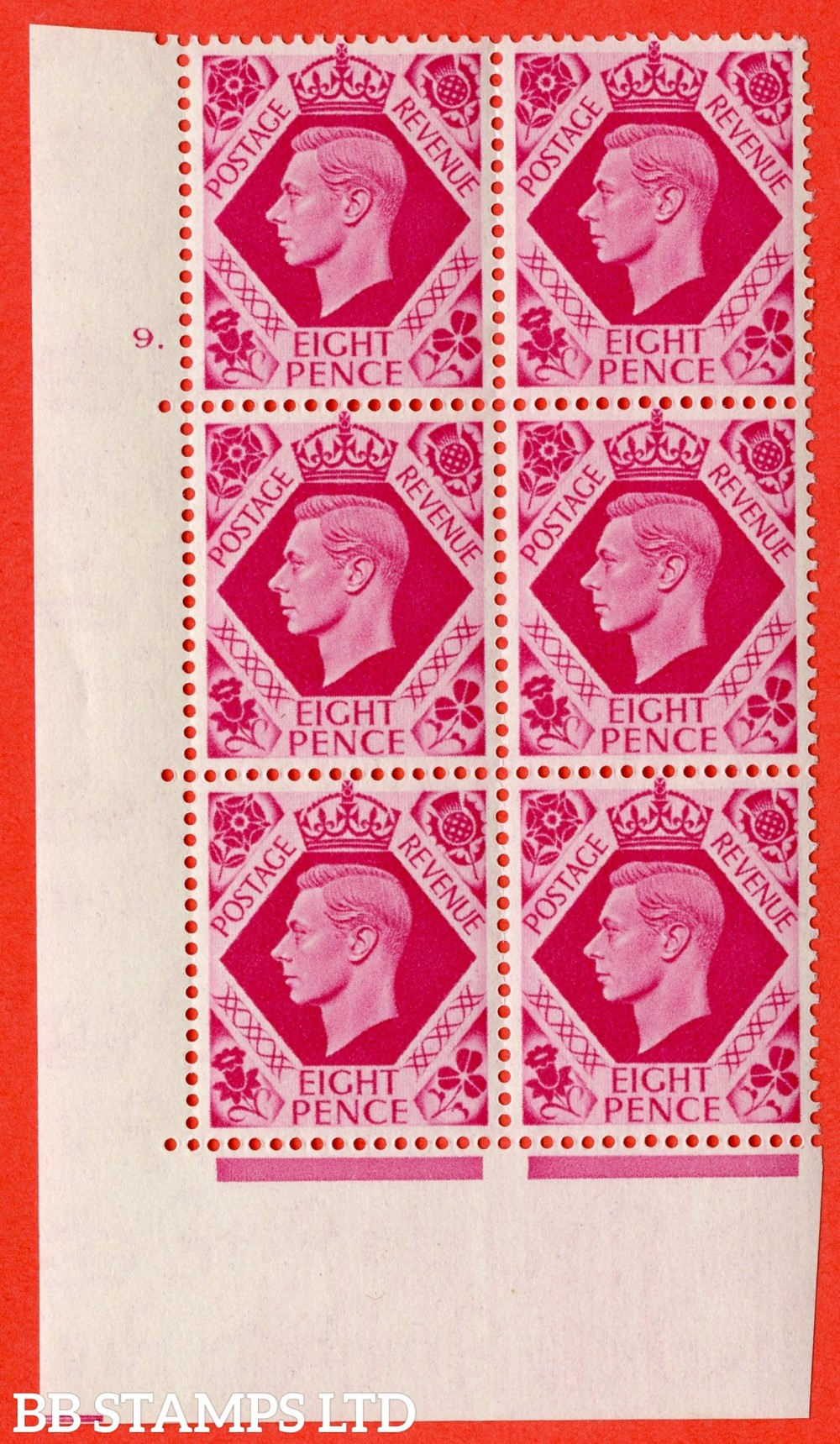 "SG. 472. Q24. 8d Carmine. A superb UNMOUNTED MINT "" No Control cylinder 9 dot "" control block of 6 with perf type 5 E/I."