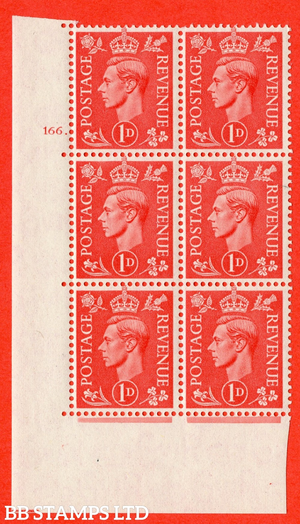"SG. 486. Q5. 1d Pale scarlet. A superb UNMOUNTED MINT "" No Control  cylinder 166 dot "" control block of 6 with perf type 5 E/I."