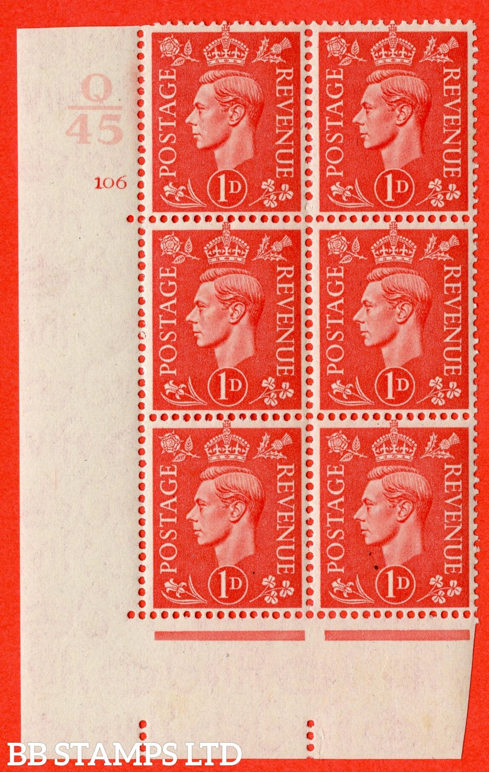 "SG. 486. Q5. 1d Pale scarlet. A superb UNMOUNTED MINT "" Control Q45  cylinder 106 no dot "" control block of 6 with perf type 5AE AE/I."