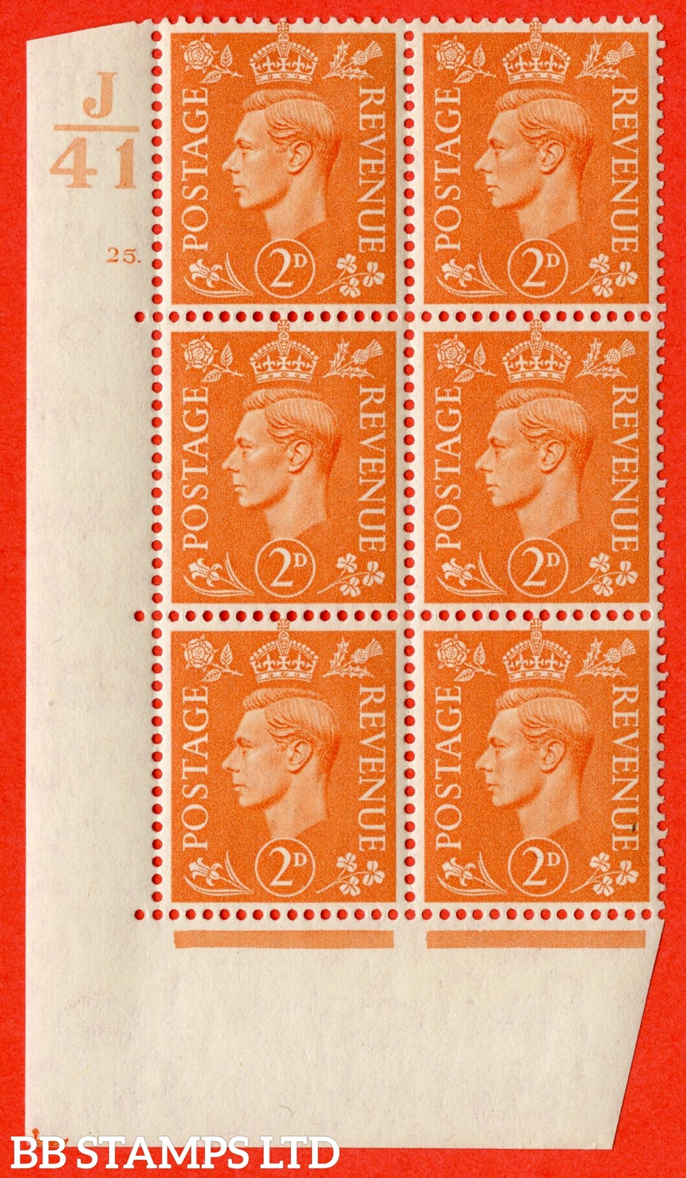 "SG. 488. Q11. 2d Pale Orange. A fine lightly mounted mint "" Control J41 cylinder 25 dot "" control block of 6 with perf type 5 E/I. Perf separation at top."