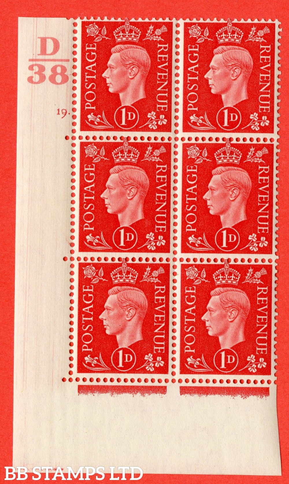 "SG. 463. Q4. 1d Scarlet. A superb UNMOUNTED MINT "" Control D38 cylinder 19 dot "" block of 6 with perf type 5 E/I."
