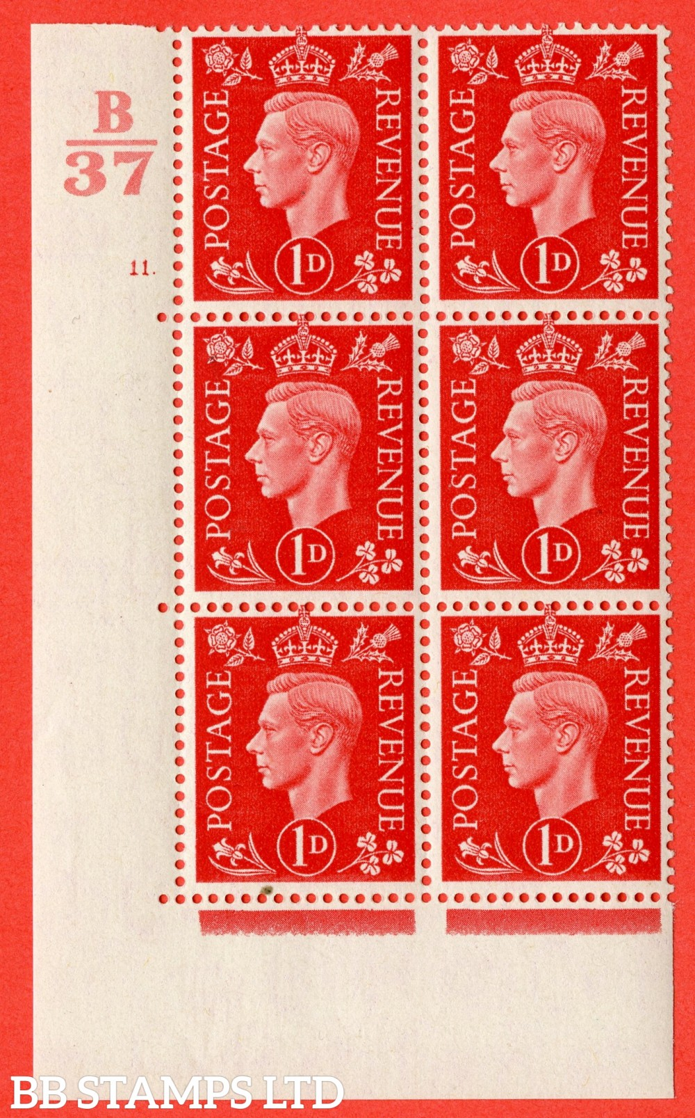 "SG. 463. Q4. 1d Scarlet. A fine lightly mounted mint "" Control B37 cylinder 11 dot "" block of 6 with perf type 5 E/I."