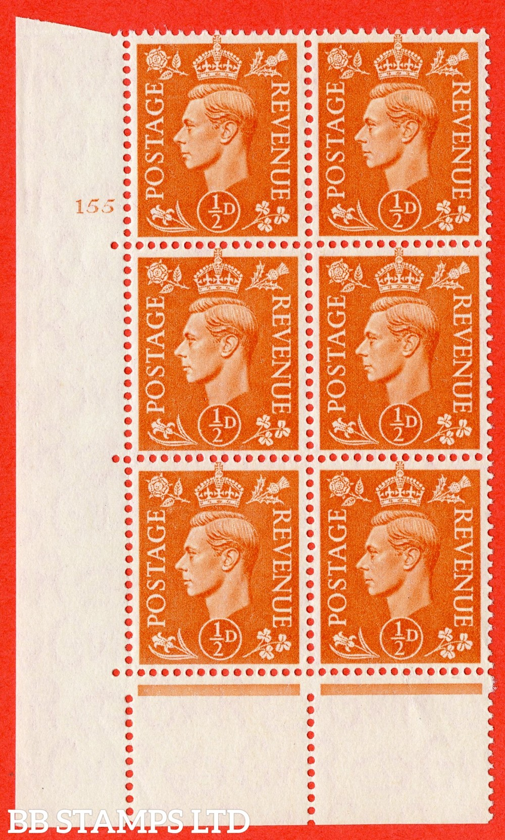 """SG. 503. Q3. ½d Pale Orange. A superb UNMOUNTED MINT """" No Control cylinder 155 no dot """" control block of 6 with perf type 5 E/I."""