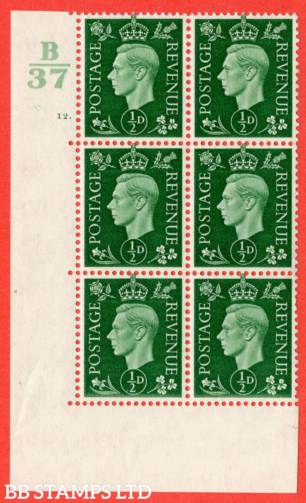 "SG. 462. Q1. ½d Green. A superb UNMOUNTED MINT "" Control B37 cylinder 12 no dot "" block of 6 with perf type 5 E/I  without marginal rule."