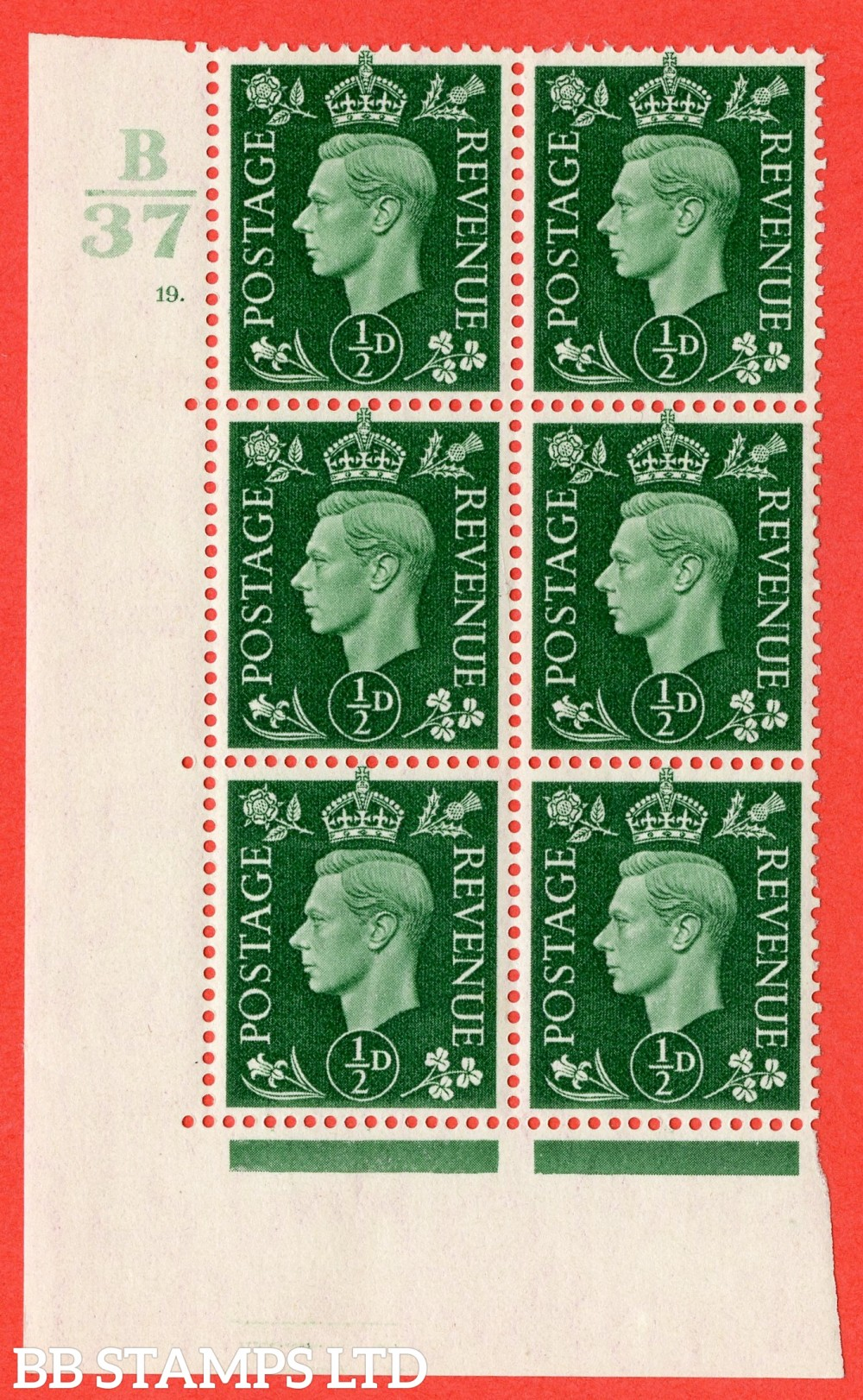 "SG. 462. Q1. ½d Green. A superb UNMOUNTED MINT "" Control B37 cylinder 19 dot "" block of 6 with perf type 5 E/I."