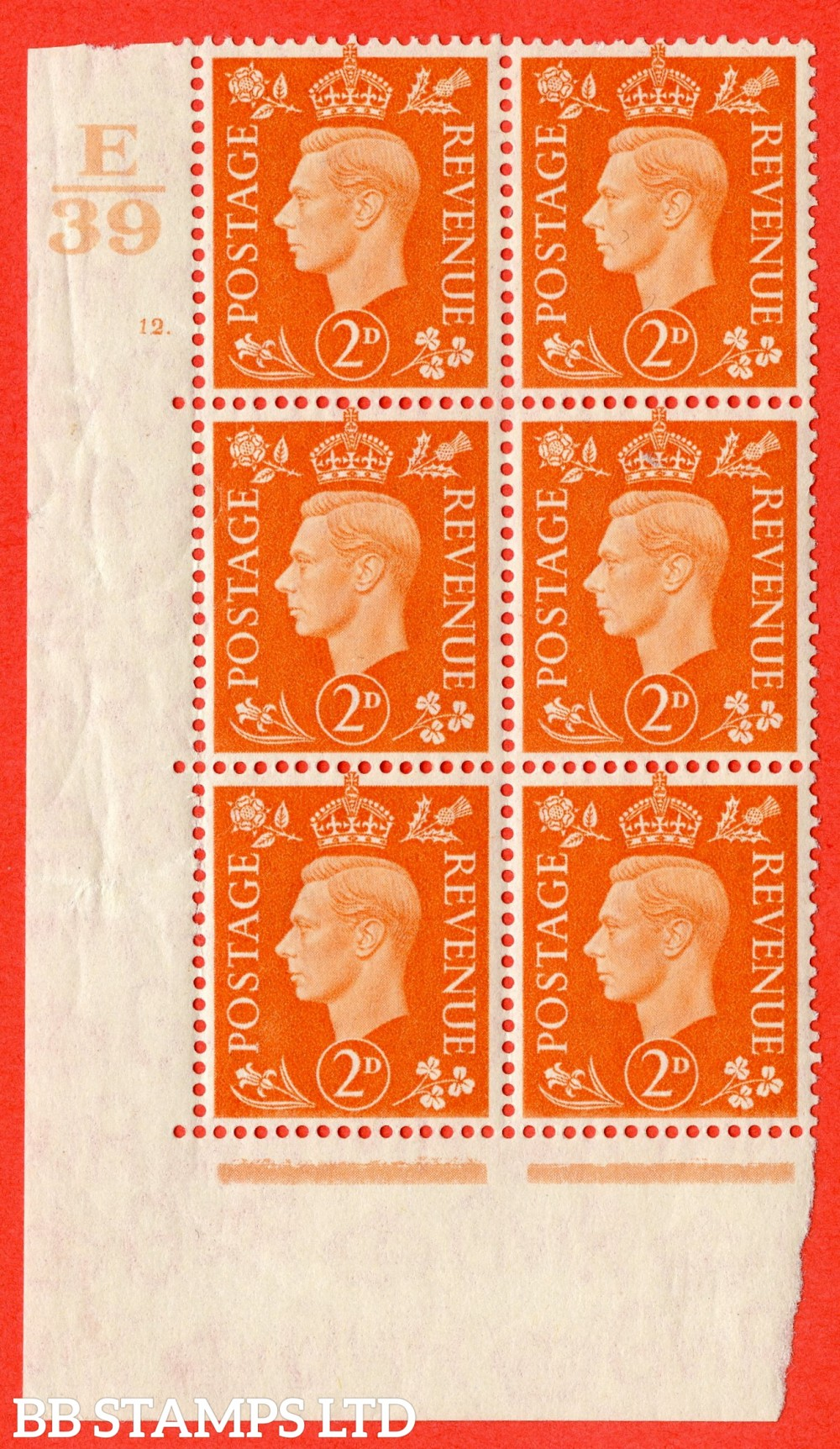 "SG. 465. Q10. 2d Orange. A fine lightly mounted mint "" Control E39 cylinder 12 dot "" control block of 6 with perf type 5 E/I."