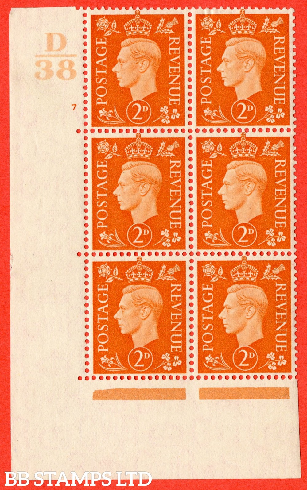 "SG. 465. Q10. 2d Orange. A superb UNMOUNTED MINT"" Control D38 cylinder 7 no dot "" control block of 6 with perf type 5 E/I."