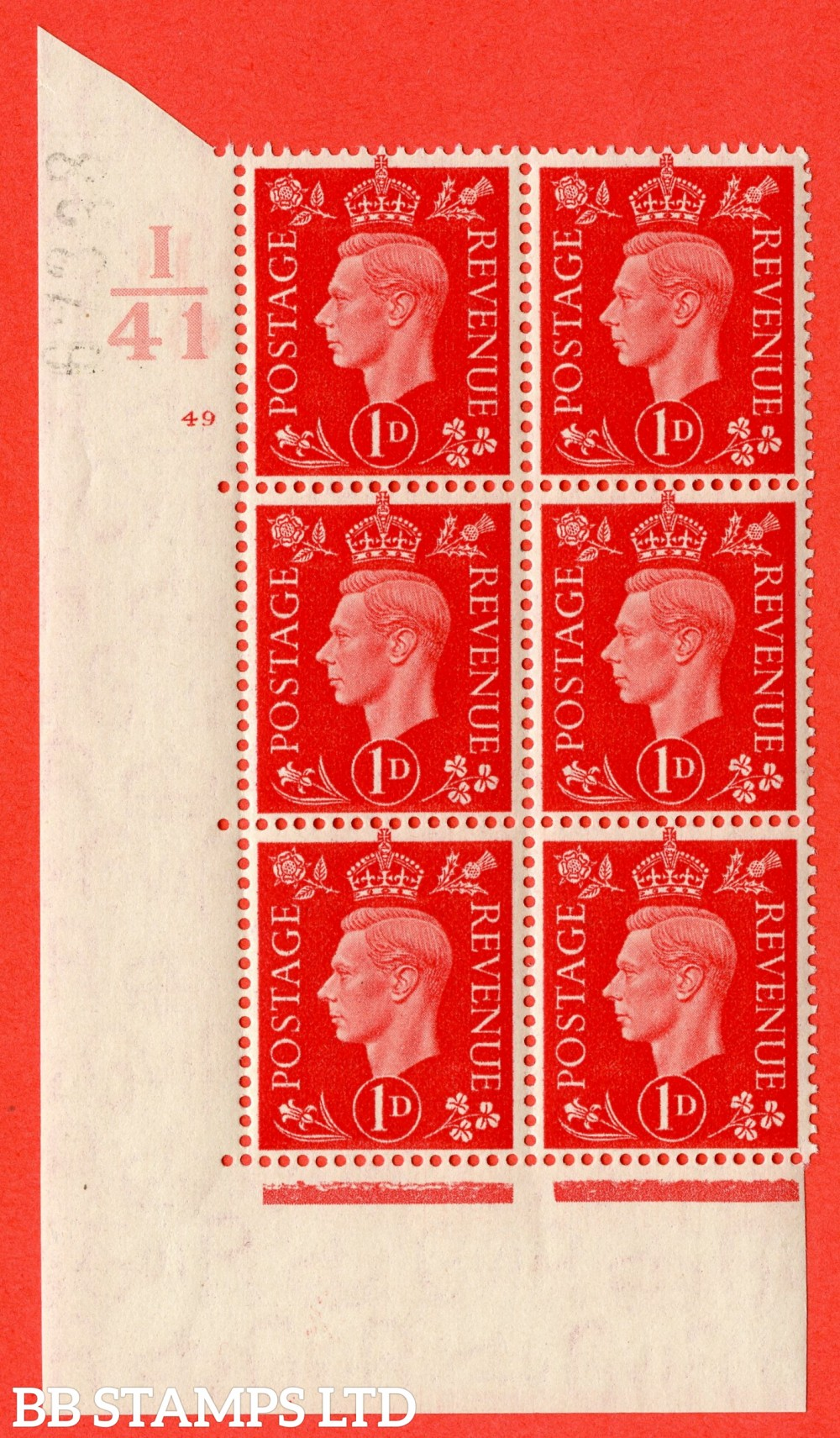 "SG. 463. Q4. 1d Scarlet. A superb UNMOUNTED MINT "" Control I41 cylinder 49 no dot "" block of 6 with perf type 5 E/I."