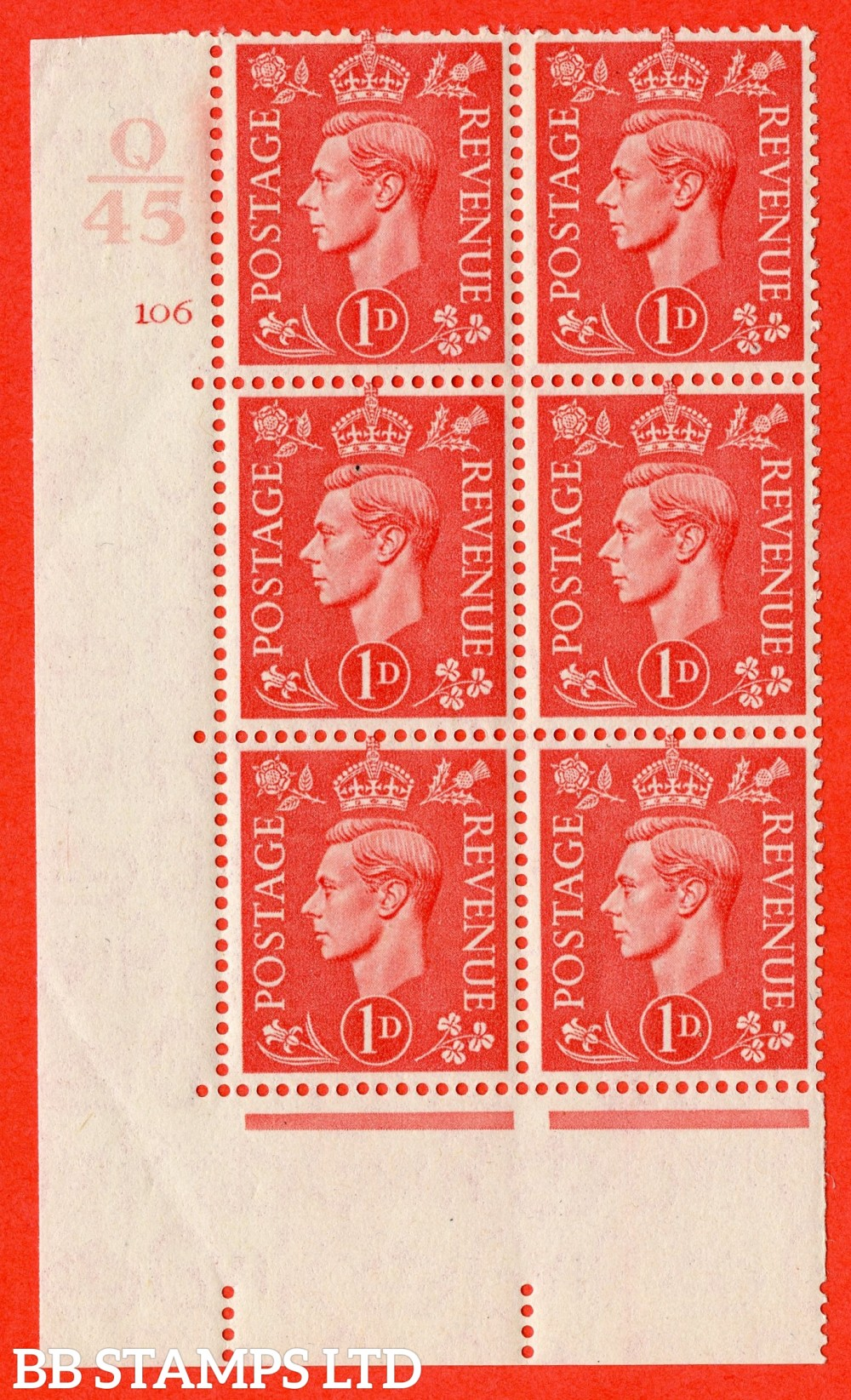 "SG. 486. Q5. 1d Pale scarlet. A superb UNMOUNTED MINT "" Control Q45  cylinder 106 no dot "" control block of 6 with perf type 5 E/I."