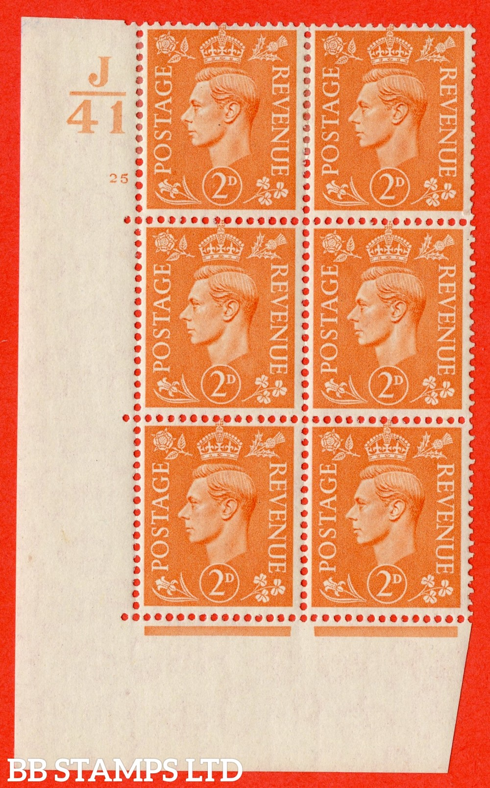 "SG. 488. Q11. 2d Pale Orange. A fine lightly mounted mint "" Control J41 cylinder 25 no dot "" control block of 6 with perf type 5 E/I."
