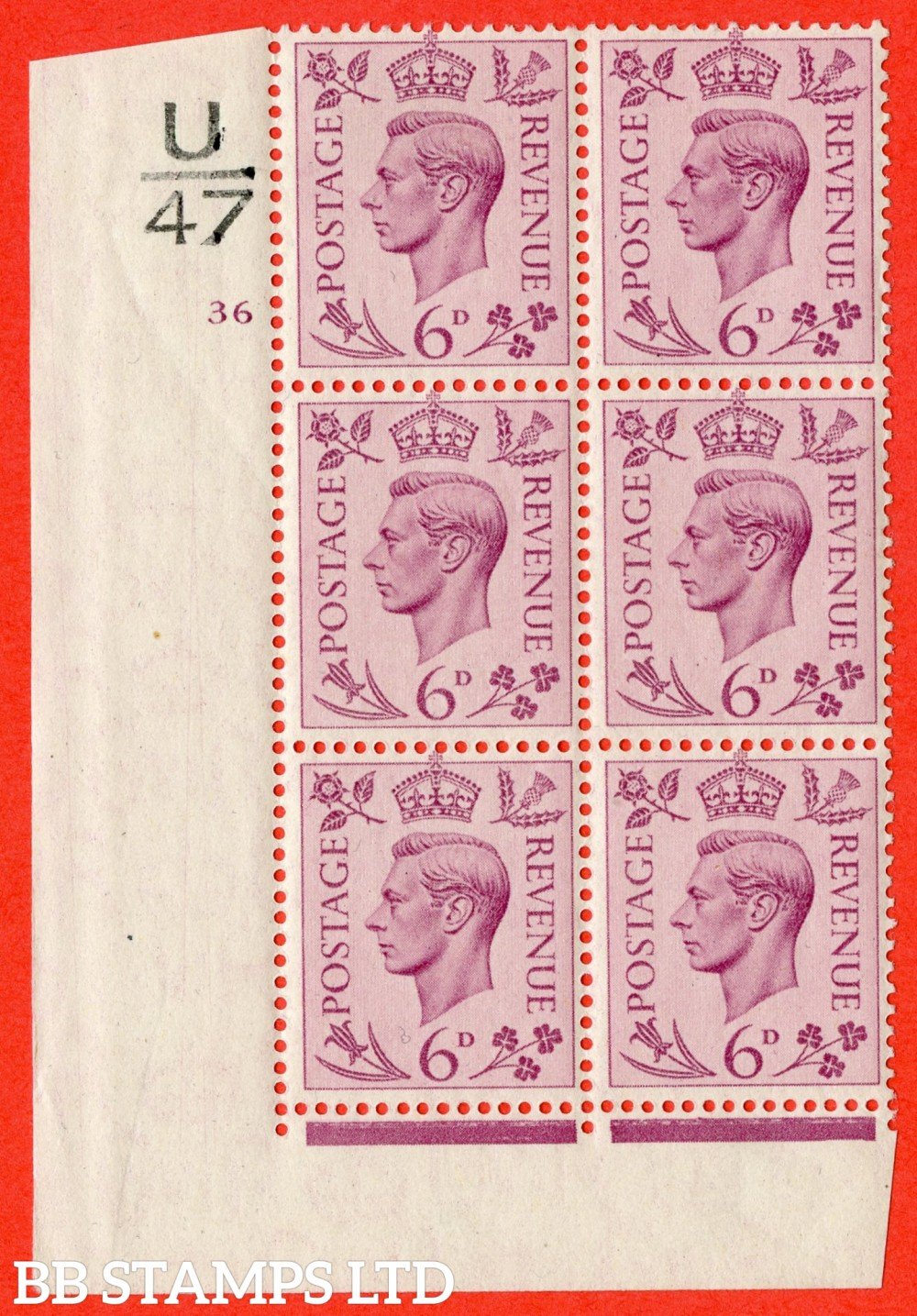 """SG. 470. Q22. 6d Purple. A fijne lightly mounted mint """" Control U47 cylinder 36 no dot """" control block of 6 with perf type 2 E/I."""