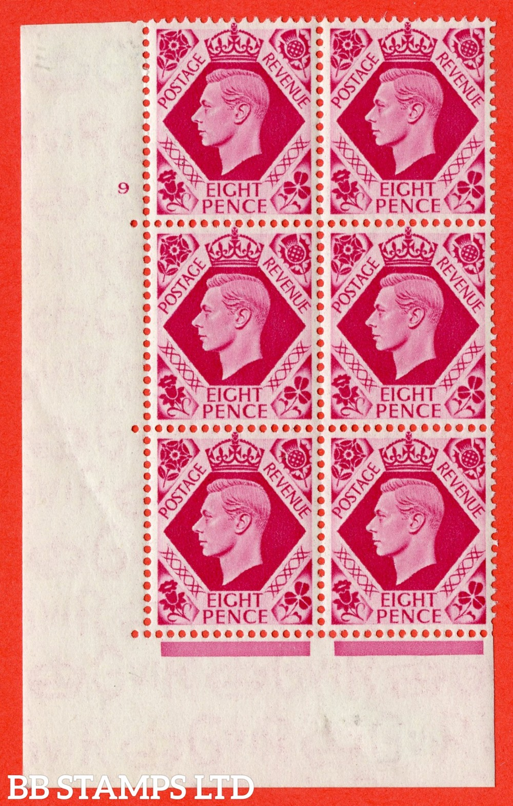"SG. 472. Q24. 8d Carmine. A fine lightly mounted mint "" No Control cylinder 9 no dot "" control block of 6 with perf type 5 E/I."