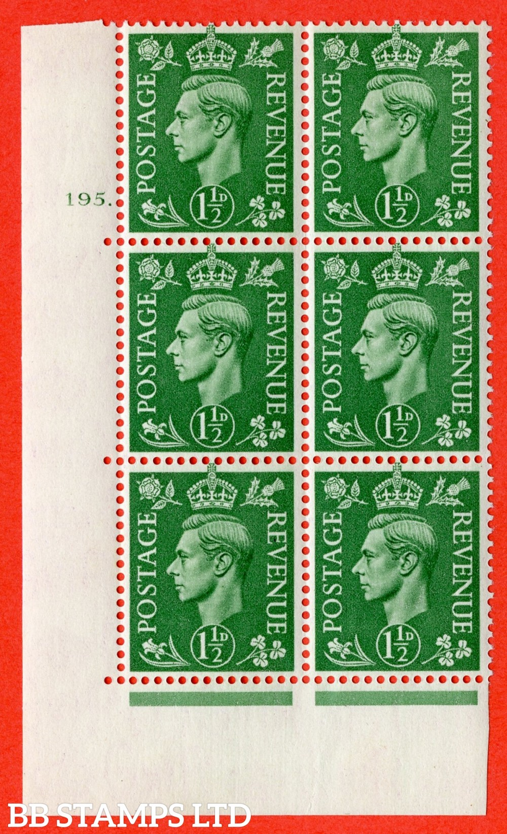 "SG. 505. Q9. 1½d Pale Green. A superb UNMOUNTED MINT "" No Control cylinder 195 dot "" control block of 6 with perf type 5 E/I."