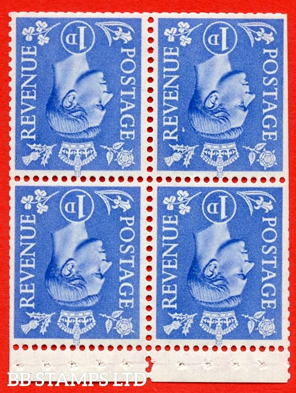 """SG. 504gw. QB16c. 1d ultramarine. A fine UNMOUNTED MINT complete booklet pane of 4. Perf type """" P """". Trimmed Perfs."""