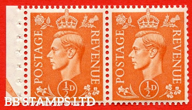 """SG. 503. QB9. ½d orange. A fine UNMOUNTED MINT complete booklet pane of 2. Perf type """" E (½V) """". Arrow at the bottom. Good Perfs."""