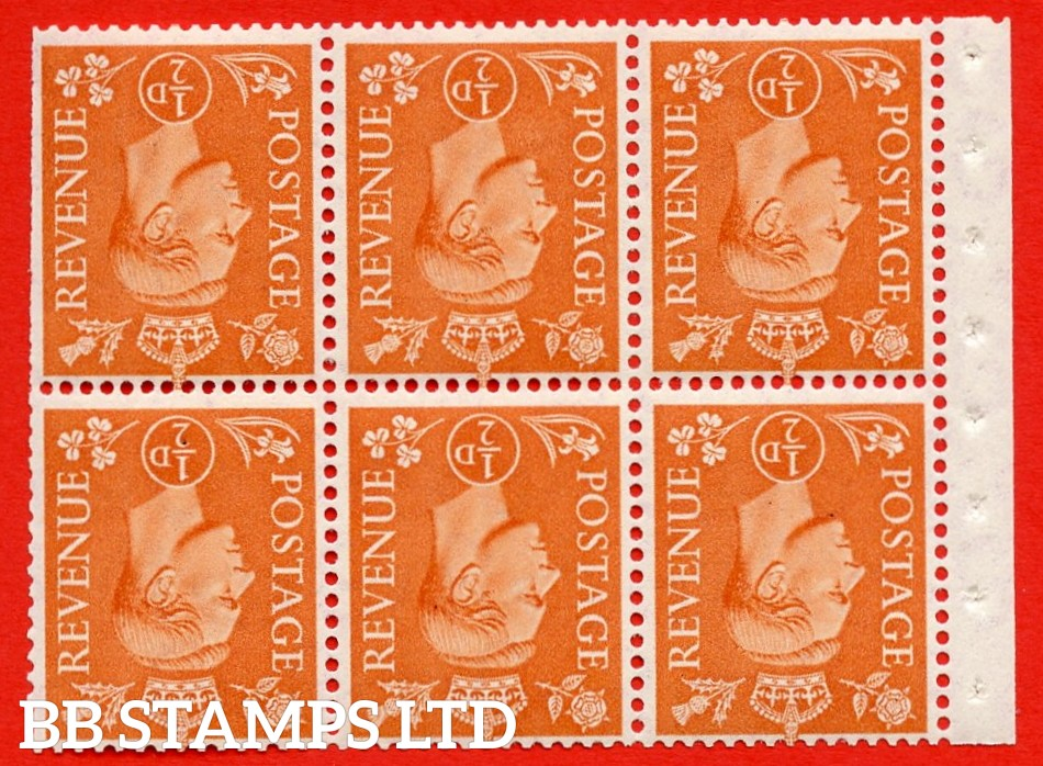 """SG. 503dw. QB7a. ½d orange. A fine UNMOUNTED MINT. INVERTED WATERMARK. complete booklet pane of 6. Perf type """" Ieb """". Trimmed Perfs."""