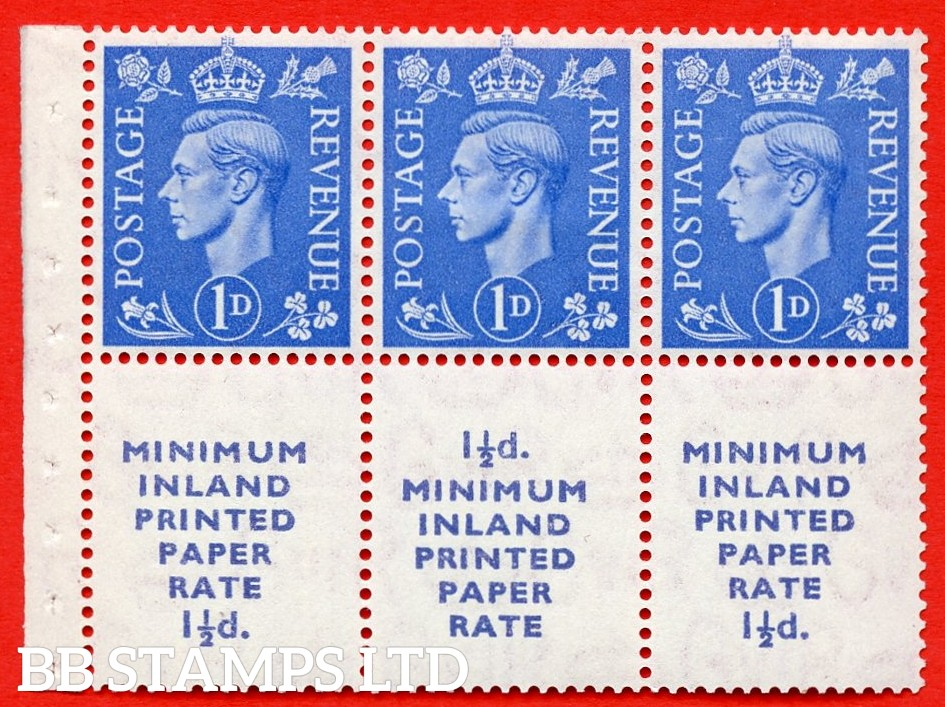 """SG. 504d. QB18. 1d ultramarine. A fine MOUNTED MINT example with """" MINIMUM INLAND PRINTED PAPER RATE """" 17 mm high. Perf type """" I """". Good Perf."""