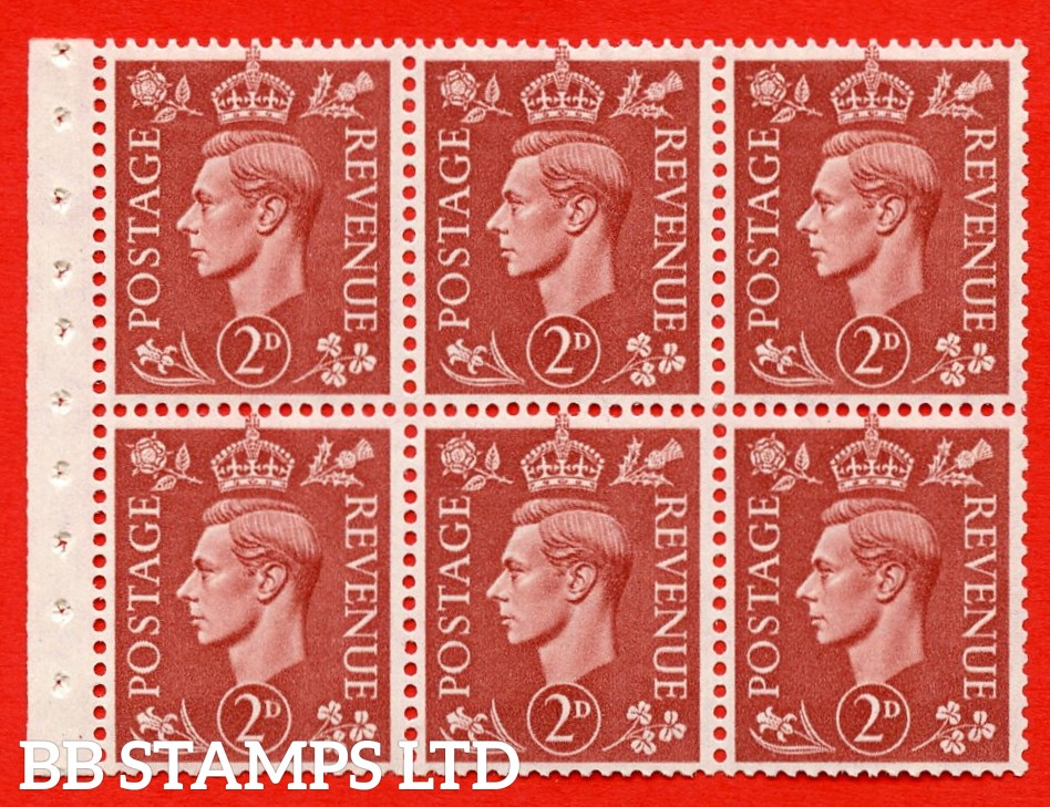 """SG. 506d. QB31. 2d pale red brown. A superb UNMOUNTED MINT complete booklet pane. Perf type """" I """". Good Perfs."""