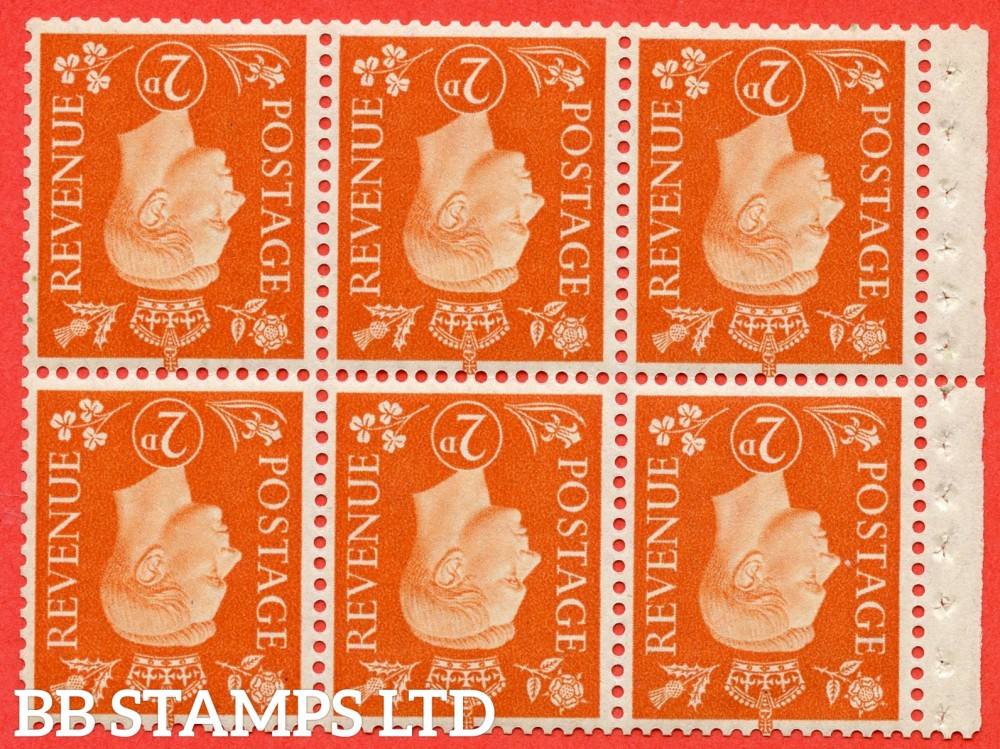 SG. 465 cw. QB29 a. 2d orange. INVERTED WATERMARK. A superb UNMOUNTED MINT complete booklet pane. Perf type ' P '.