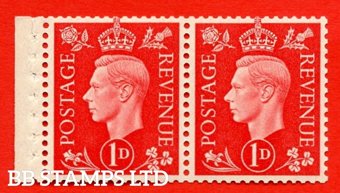 SG. 463 c. QB12. 1d Scarlet. A fine MOUNTED MINT booklet pane of 2. Perf type E. Good perfs.