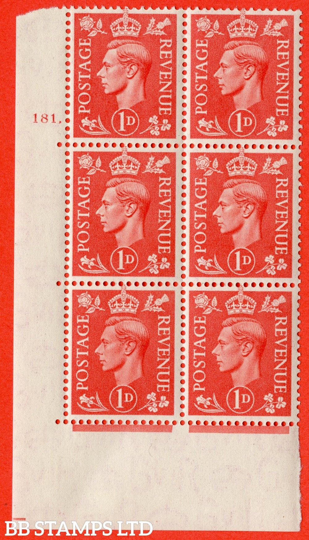 "SG. 486. Q5. 1d Pale scarlet. A superb UNMOUNTED MINT "" No Control   cylinder 181 dot "" control block of 6 with perf type 5 E/I."