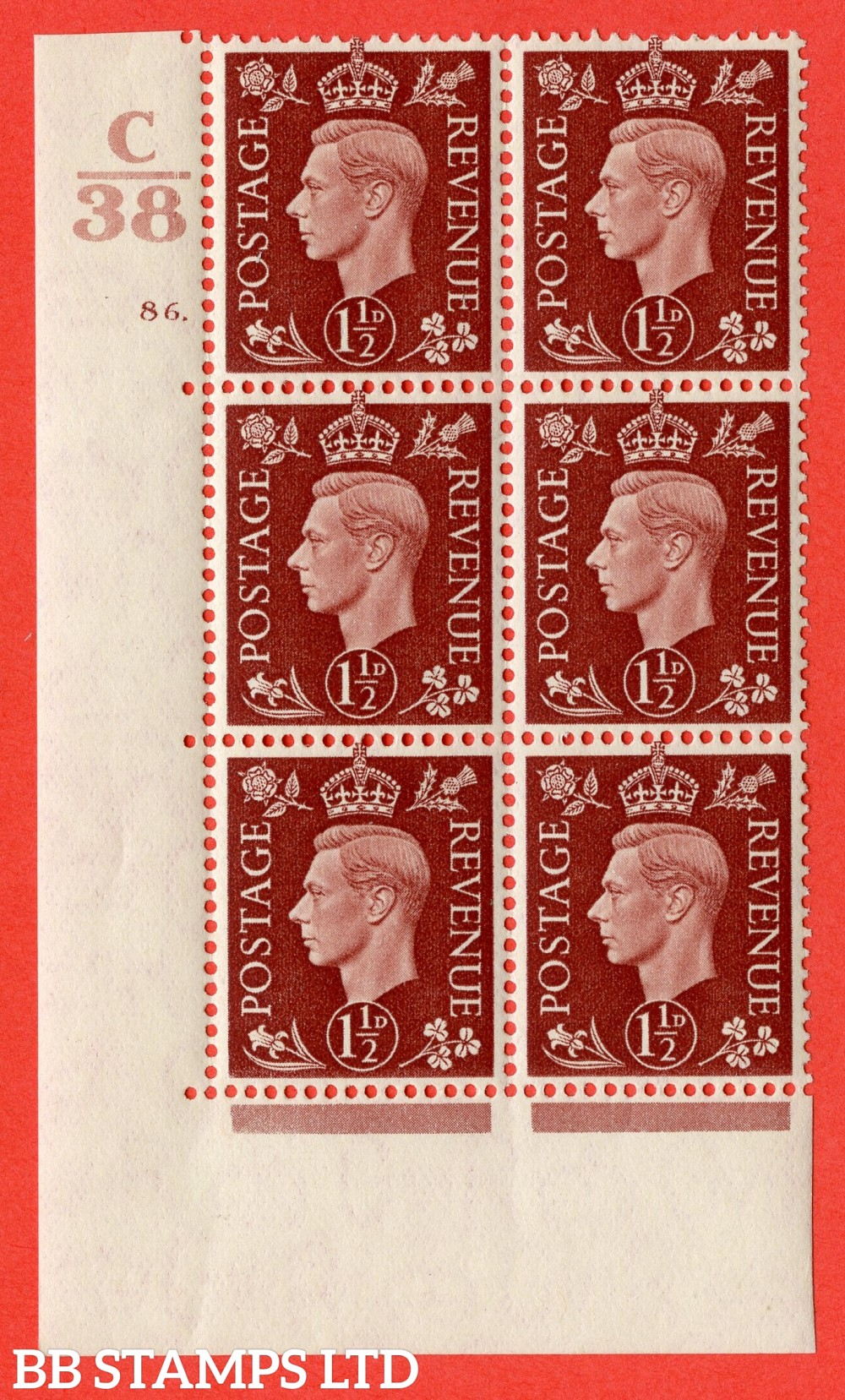 """SG. 464. Q7. 1½d Red-Brown. A fine lightly mounted mint """" Control C38 cylinder 86 dot """" block of 6 with perf type 5 E/I."""