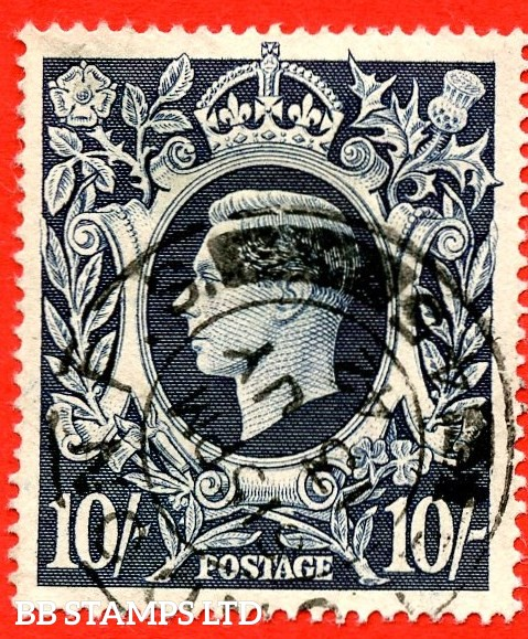 "SG. 478. Q32e. 10/- Dark blue. A very fine CDS used example with the listed variety "" Retouch to lower lip. Row 2/7 ""."