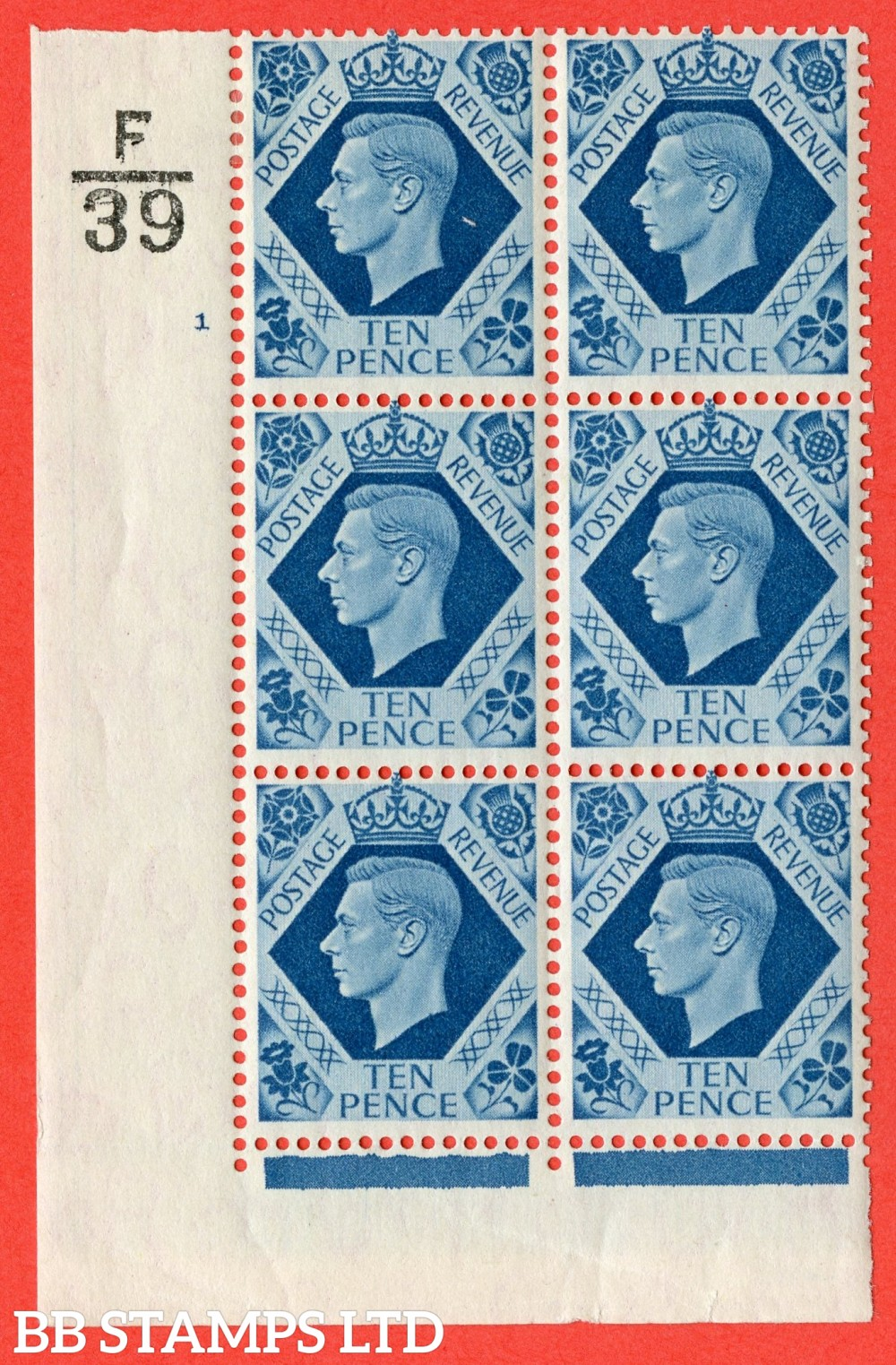 "SG. 474. Q26. 10d Turquoise-Blue. A fine lightly mounted mint "" Control F39 cylinder 1 no dot "" control block of 6 with perf type 2 I/E."
