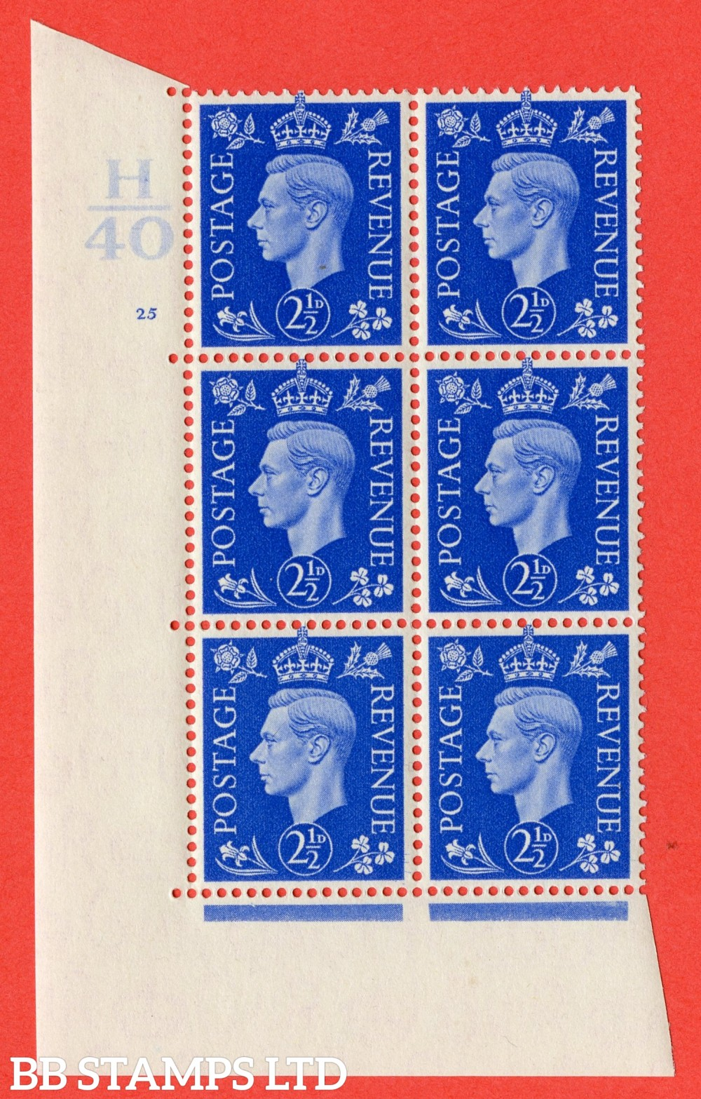 "SG. 466. Q13. 2½d Ultramarine. A superb UNMOUNTED MINT "" Control H40 cylinder 25 no dot "" control block of 6 with perf type 5 E/I."