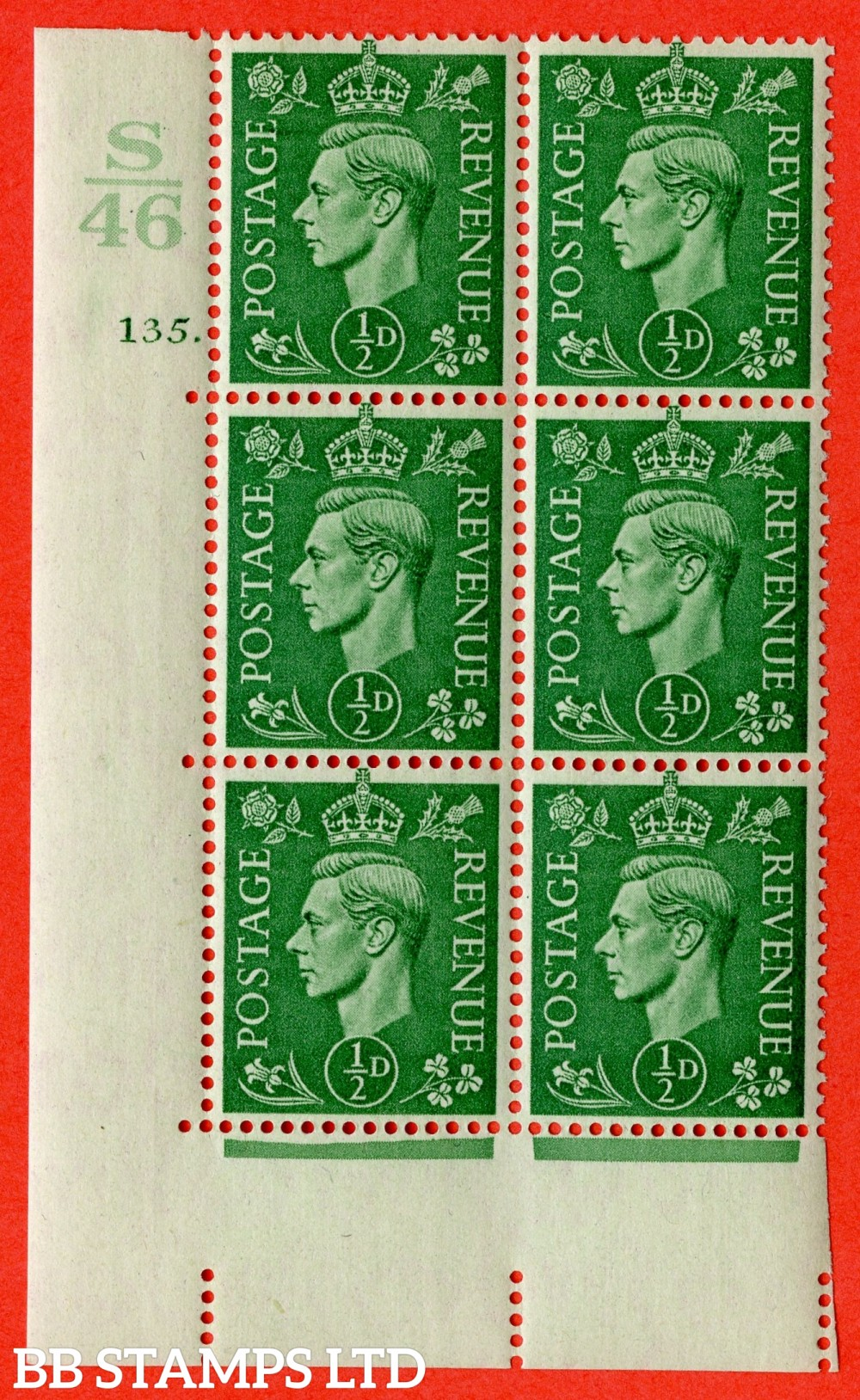 "SG. 485. Q2. ½d Pale Green. A superb UNMOUNTED MINT "" Control S46 cylinder 135 dot "" block of 6 with perf type 5 E/I with marginal rule."