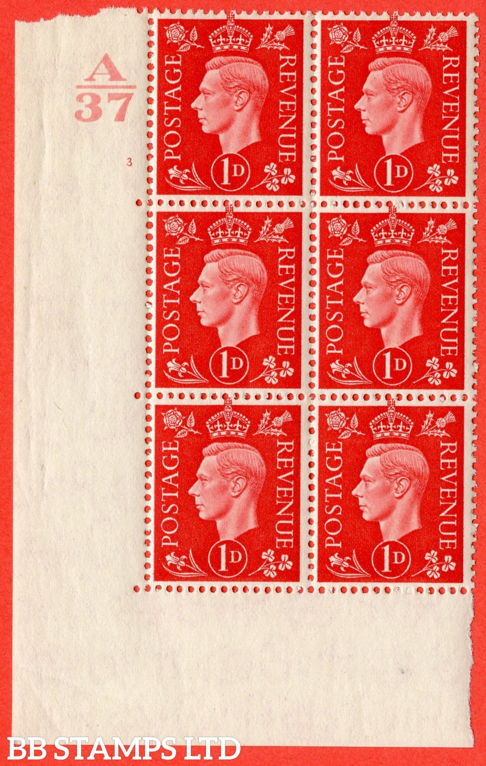 "SG. 463. Q4. 1d Scarlet. A superb UNMOUNTED MINT "" Control A37 cylinder 3 no dot "" block of 6 with perf type 5 E/I without marginal rule."