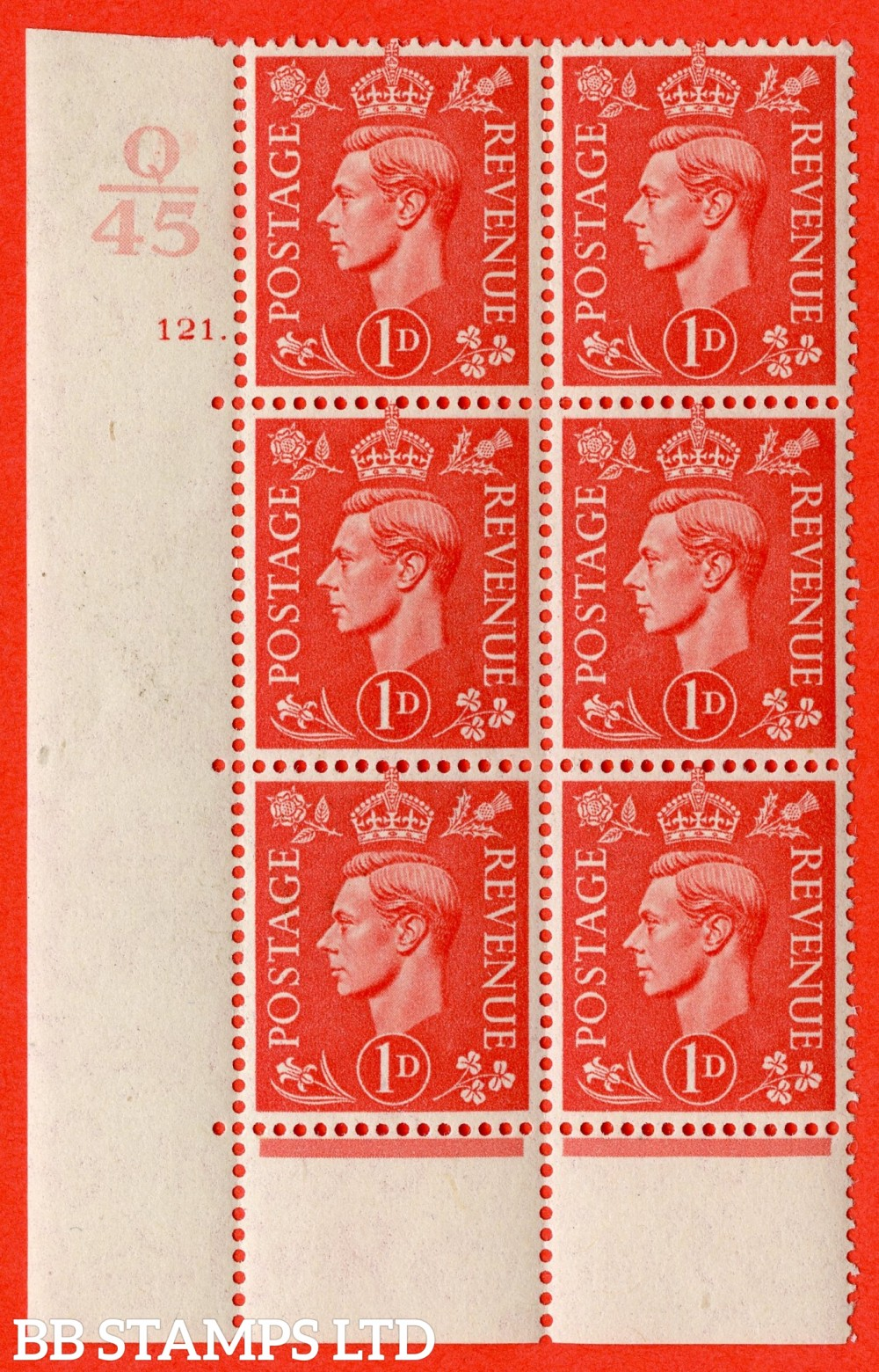 "SG. 486. Q5. 1d Pale scarlet. A superb UNMOUNTED MINT "" Control Q45  cylinder 121 dot "" control block of 6 with perf type 6B E/P."