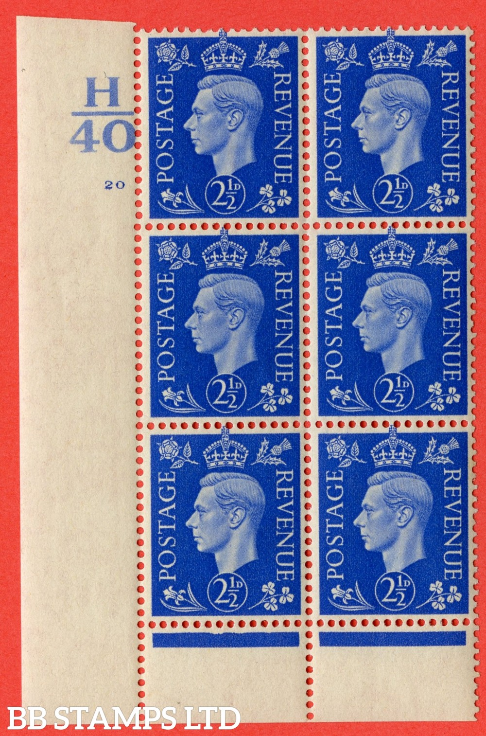 "SG. 466. Q13. 2½d Ultramarine. A fine lightly mounted mint "" Control H40 cylinder 20 no dot "" control block of 6 with perf type 6 I/P."
