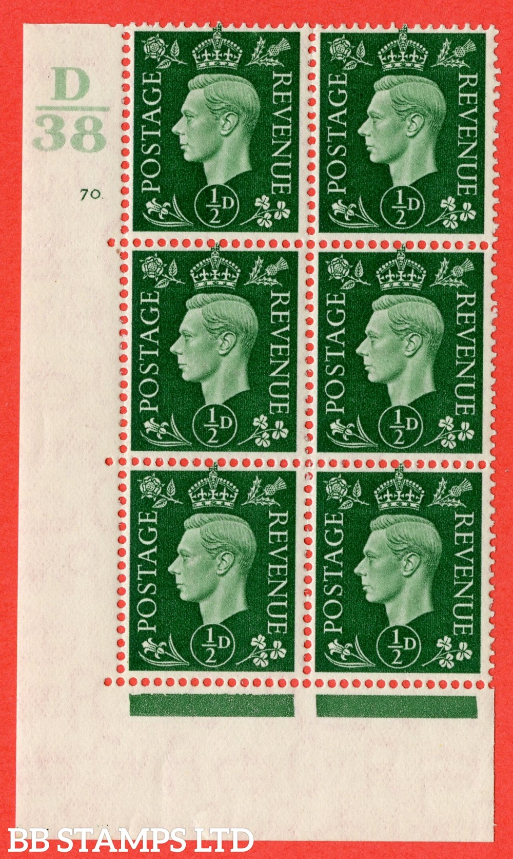 "SG. 462. Q1. ½d Green. A superb UNMOUNTED MINT "" Control D38 cylinder 70 no dot "" block of 6 with perf type 5 E/I."