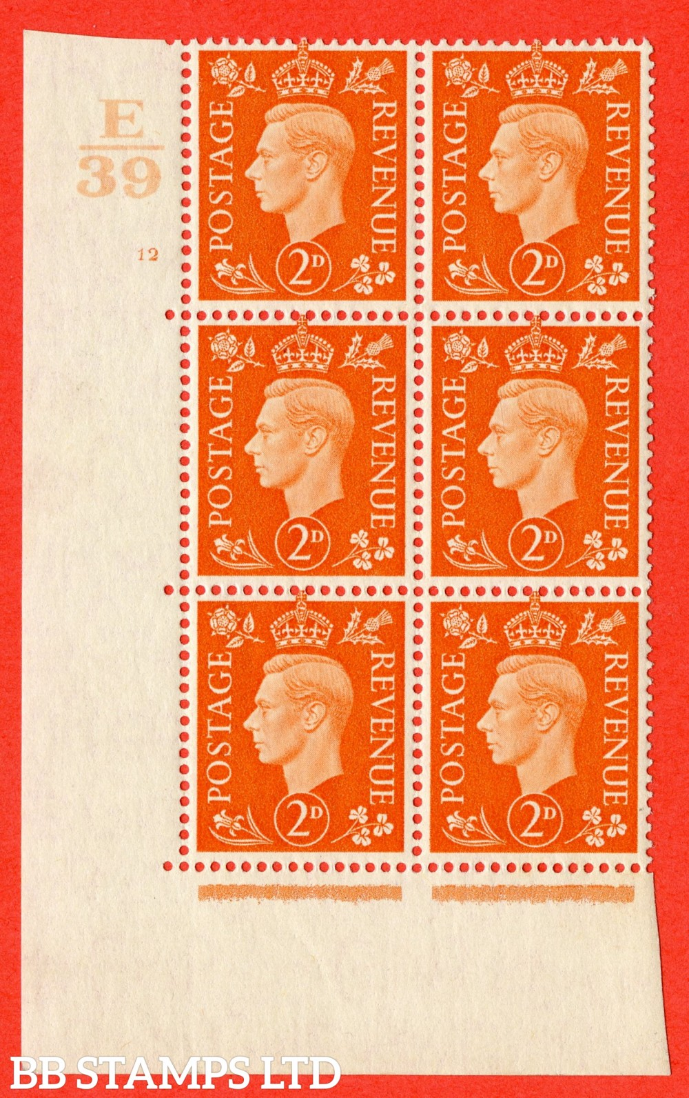 "SG. 465. Q10. 2d Orange. A superb UNMOUNTED MINT "" Control E39 cylinder 12 no dot "" control block of 6 with perf type 5 E/I."